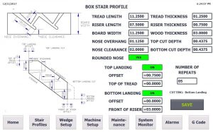 MSFR 5 Axis Multi Function Stair Routing Machine User Interface